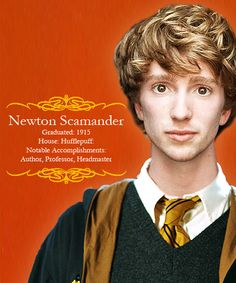 """Hogwarts Alumni → Newton Artemis Fido """"Newt"""" Scamander - the """"author"""" of the Hogwarts textbook Fantastic Beasts and Where To Find Them and the newest franchise in the wizarding world."""