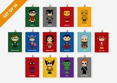 Superhero prints, set of 14. On Etsy. $90
