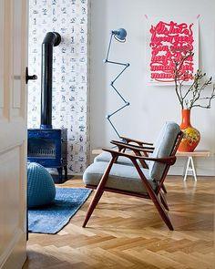 Herringbone floor; log burner; the Jielde Loft Floor Lamp & chairs.