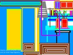 Interior 2, puerta amarilla y pared azul-