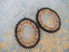 Seed Bead Hoop Earrings  Multicolored Metallic Oval by WorkofHeart