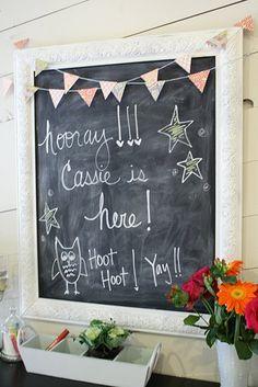 framed chalkboard. cute.