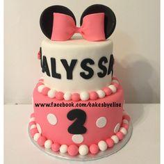 www.facebook.com/cakesbyelise. Minnie Mouse birthday cake. Minnie Mouse. Little girl birthday cake.