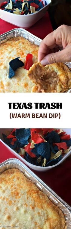 Creamy bean dip packed with flavor and topped with all sorts of ooey gooey cheese, baked to dipping perfection. I could make a meal out of this dip! Dip Recipes, Casserole Recipes, Mexican Food Recipes, Appetizer Recipes, Snack Recipes, Dinner Recipes, Appetizers, Snacks, Skinny Recipes