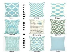 Soft village blue and cream pillow covers in your choice of quantity, size and pattern. 100% cotton.  Mix and match several fabrics to get the look you want. Select a size then select the pattern from the drop down lists.  Envelope closure with the same fabric on the front and back. The seams are serged and reinforced in stress areas. The pillow insert is not included but can be purchased at any craft, fabric, or discount store. THE FINISHED SIZE OF THE PILLOW COVERS WILL BE APPROX. 1/2 ...