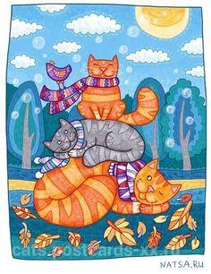 Rode Katten Kunstenaar Natalia Illarionova Cat Colors Cat Drawing Cat 2 Crazy Cats