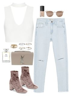 """""""Untitled #1688"""" by breannaflorence on Polyvore featuring Zara, Jeffrey Campbell, Boohoo, Yves Saint Laurent, Chanel, NARS Cosmetics and Linda Farrow"""