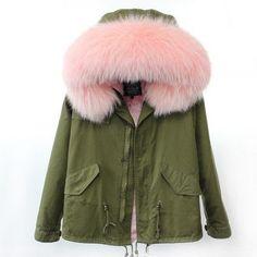 MAO MAO KONG 100% Real Raccoon Fur Collar winter fur coat Women camouflage black parkas & cotton faux fur lining coat jacket
