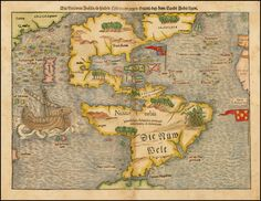 Die Neuwen Inseln/So hinder Hispanien gegen Orient/ven dem landt indie ligen. Munster's map is the earliest map of all of America and the first to name the Pacific Ocean (Mare Pacificum). Depiction of North America is dominated by the geographic misconception of the so-called Sea of Verrazzano. The division of the New World between Spain and Portugal is recognized on the map by the Castille and Leon flag planted in Puerto Rico, here called Sciana.