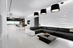 черно-белый дизайн интерьера кухни-гостиной