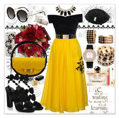 """Black and Yellow"" by fairy921 ❤ liked on Polyvore featuring Parlor, Chicwish, Ivanka Trump, Chanel, Pierre Hardy, Kate Spade, Topshop, Judith Jack, Kardashian Kollection and Bling Jewelry"