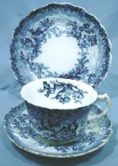 Flow Blue Fine China Trio with Lovely Underwater Scene