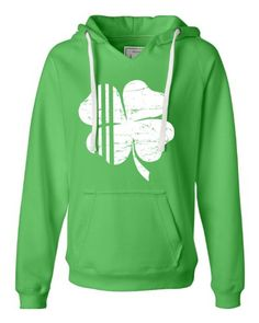 Small Lime Womens Distressed Shamrock St. Patrick''s Day Irish Pride 4 Leaf Clover Deluxe Soft Fashion Hooded Sweatshirt Hoodie Go All Out Screenprinting