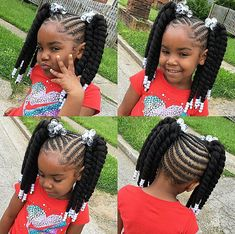 Kid Braid Styles – Back to School Braided Hairstyles for Kids Cornrows For Little Girls, Little Black Girls Braids, Black Girl Braids, Black Kids Braids Hairstyles, Baby Girl Hairstyles, Natural Hairstyles, Prom Hairstyles, Kids Braids With Beads, Braids For Kids