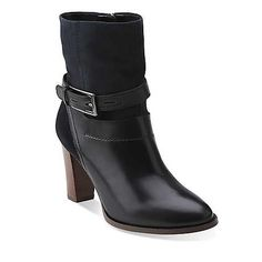 Kacia Garnet in Black Leather/Navy Suede - Womens Boots from Clarks