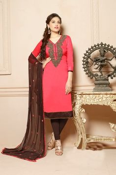 Peach   Brown  Embroidered Glace  Cotton Straight  salwar  Suit Contact  Us  +91-7623989000 Email  support thankar.com 66498a9c467fc