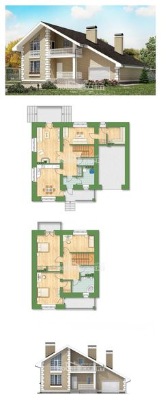 Two Story House Plans with mansard and garage, classic House Blueprints, House Expert Two Story House Plans, House Layout Plans, Dream House Plans, Modern House Plans, House Layouts, House Floor Plans, Villa Plan, House With Porch, House Blueprints