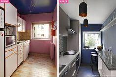 Avant / Apres Une Cuisine Complément Modifié. Le Plafond Peint En Blanc Et  Mur Du