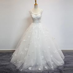 Floral Appliqué A-line Floor-length Wedding Gown with Illusion Sweetheart Neckline