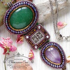 """Necklace with aventurine and amethyst. Кулон с зеленым авантюрином и аметистом. Нашел хозяйку #мастерская_син #sinbead #sinbeadjewelry #jewelry #beads…"""