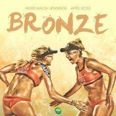 Kerri Walsh Jennings and April Ross win BRONZE in women's beach volleyball! #RIo2016