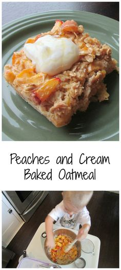 Peaches and Cream Baked Oatmeal - A delicious and healthy start to your day! Breakfast just got a little tastier with this fabulous easy recipe.