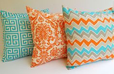"Throw pillow covers set of three 20"" x 20"" Orange Natural Aqua Gray dosset see saw and aqua natural greek key. $57.00, via Etsy."