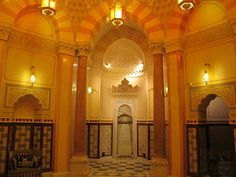 The central hall of the Turkish Bath Pavilion is lit from small windows installed in the domed ceiling. Central Hall, Baths Interior, Turkish Bath, Small Windows, Imperial Russia, Grand Palais, Istanbul Turkey, Taj Mahal, Restoration