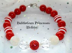 Chunky BubbleGum bead necklace XMAS Holiday Red Sparkle SNOWBALL beads girls toddler baby Jewelry on Etsy, $18.00