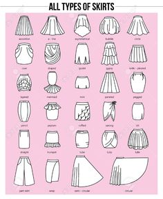 Set of different types of skirts on pink background. Set of different types of skirts on pink background. Simple Set of different types of skirts on pink background. Fashion Terminology, Fashion Terms, Fashion Art, Party Fashion, Fashion Shoes, Fashion Jewelry, Style Fashion, Fashion Guide, Color Fashion