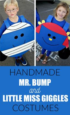 These easy handmade Mr Bump and Little Miss Giggles costumes from the Mr. Men books are perfect for World Book Day and Halloween. Boys Book Character Costumes, World Book Day Costumes, Book Week Costume, Book Characters, Holidays Halloween, Halloween Crafts, Halloween Costumes, Halloween Halloween, Halloween Makeup