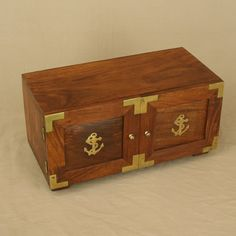 "wooden chest with brass anchor decor :: ""Circa 19th century inlaid brass and wood jewelry/storage box.  Delightful old hand made inlaid brass nautical design box."" ♥ ☸"