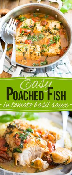 pescatarian recipes From freezer to table in under 30 minutes - you won't believe how incredibly tasty and delicious this Easy Poached Fish recipe really is! Pescatarian Diet, Pescatarian Recipes, Frozen Fish Fillets, Tomato Basil Sauce, Cooking Recipes, Healthy Recipes, Healthy Fish Recipes, Frozen Fish Recipes, Fast Recipes