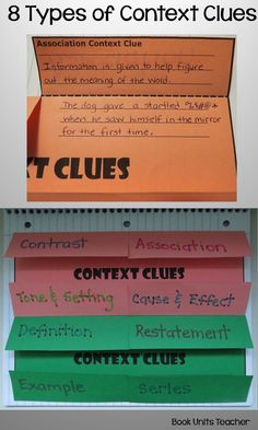 Two FREE Context Clues Foldable Graphic Organizers covering Eight Types of Context Clues