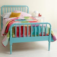 Blue Spindle bed...LOVE this for my girls' bedroom.  Also love the vintagey feel.