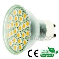 Ampoule led à 24 Leds SMD 5050 Blanc Chaud à 3200k type GU10 Diffusion 150° avec verre