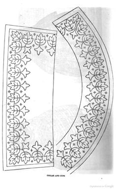 Embroidery pattern for woman's collar and cuff; Peterson's Magazine, 1858.