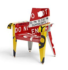 """An attraction to the bold graphics of discarded highway signage inspired Boris Bally to collect, recycle, and fabricate furniture of great wit and distinction. His chairs - with fragmented words, symbols and arrows splashed across their surfaces - seem to symbolize urban grit and rhythms.""  --Michael Monroe"