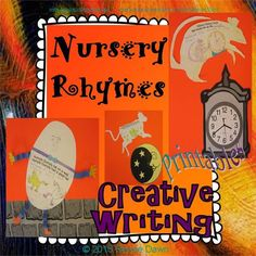 Nursery Rhymes come alive with creative writing prompts; unique Nursery Rhyme printables for eye-catching bulletin boards, lessons, differentiation for TAG and ELL, and a lovely book-cover as an alternative display.  Humpty Dumpty, Hey Diddle Diddle, Hickory Dickory Dock.