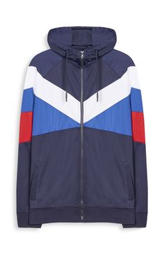 Mens Blue White And Red Tricot Jacket
