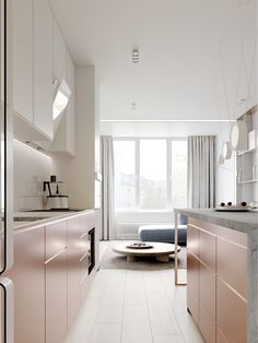 A peaceful pastel colour home interior with a few stylish surprises and home accents up its sleeve. Find a pastel lounge, rose gold kitchen and cool lighting. Scandinavian Interior Design, Interior Design Tips, Best Interior, Natural Interior, Classic Interior, Contemporary Interior, Interior Pastel, Rose Gold Interior, Rose Gold Kitchen