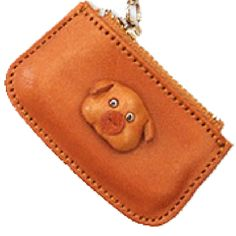 Genuine Leather Pig Japanese Leather Cellularphone Charm Change Purse is made by skillful craftsmen of VANCA CRAFT in Japan. Change Purse, Craftsman, Zip Around Wallet, Coin Purse, Charmed, Japanese, 3d, Leather, Artisan