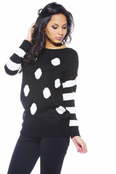 Striped Sleeve Spot Jumper  Is just perfect