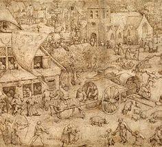 Pieter Bruegel the Elder, Kermesse at Hoboken (1559). Pen and brown ink