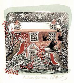 """Bircham Christmas"" by Angela Harding (lino & silkscreen)"