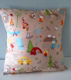 Woodland Camping Pillow / Cushion cover by carouselbelle on Etsy, $14.00