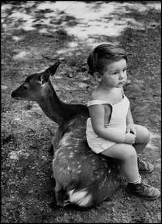 Photo taken by Burt Glinn, 1952. Game farm