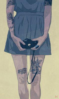 Graphik H Illustrations. Illustrator: Graphik H. Camera Illustration, Illustration Girl, Girl Illustrations, American Illustration, Hipster Vintage, Art Graphique, Body Painting, Illustrators, Fantasy Art