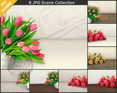 Tulips Roses Studio Table Styling | 8 Close-up Styled Flower Table | JPG Styled Stock Scene STC4 | Product Display Mockup Scene Creator