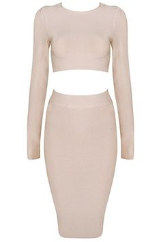 Malene Nude 2 Piece Bandage Dress - Dresses